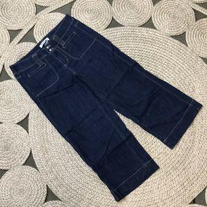 WHBM sz 2 Blue Cropped Jeans Wide Leg